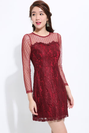 ¾ Sleeves Lace Dress 1495 - ample-couture