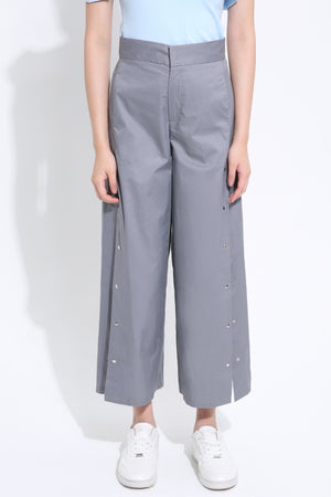 Front Buckle Midi Pant 1498 Grey / S Bottoms