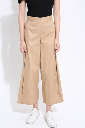 Front Buckle Midi Pant 1498 Brown / S Bottoms