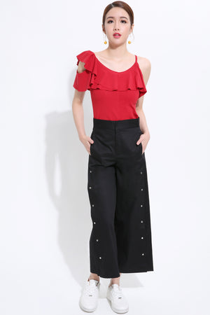 Front Buckle Midi Pant 1498 Bottoms
