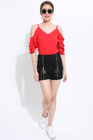 Cutoff Shoulder Top with Ruffled Sleeve 2105