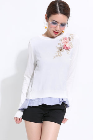 Floral Embroidery Knit Long Sleeve Top 1535