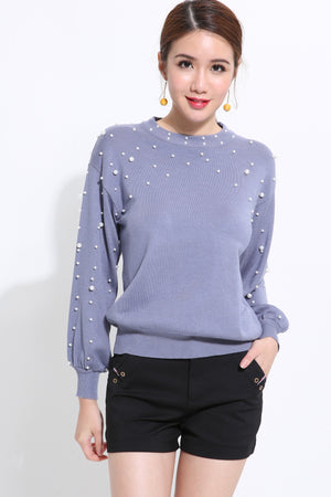 Beading Long Sleeve Knit Top 1537