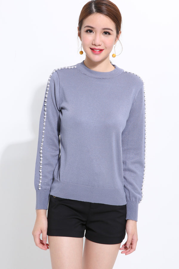 Beading Long Sleeve Knit Top 1534