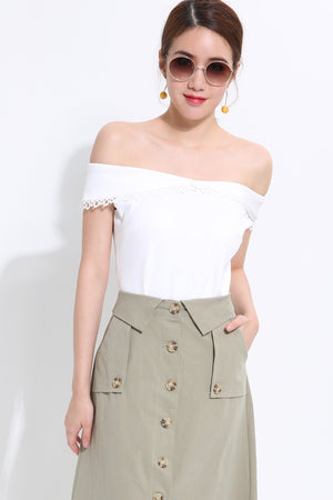 Off Shoulder Top 1526 White / S Tops