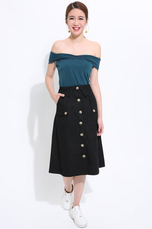 Button Skirt 1523 - Ample Couture