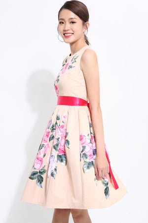 Floral With Ribbon Skater Dress 1542 Dresses