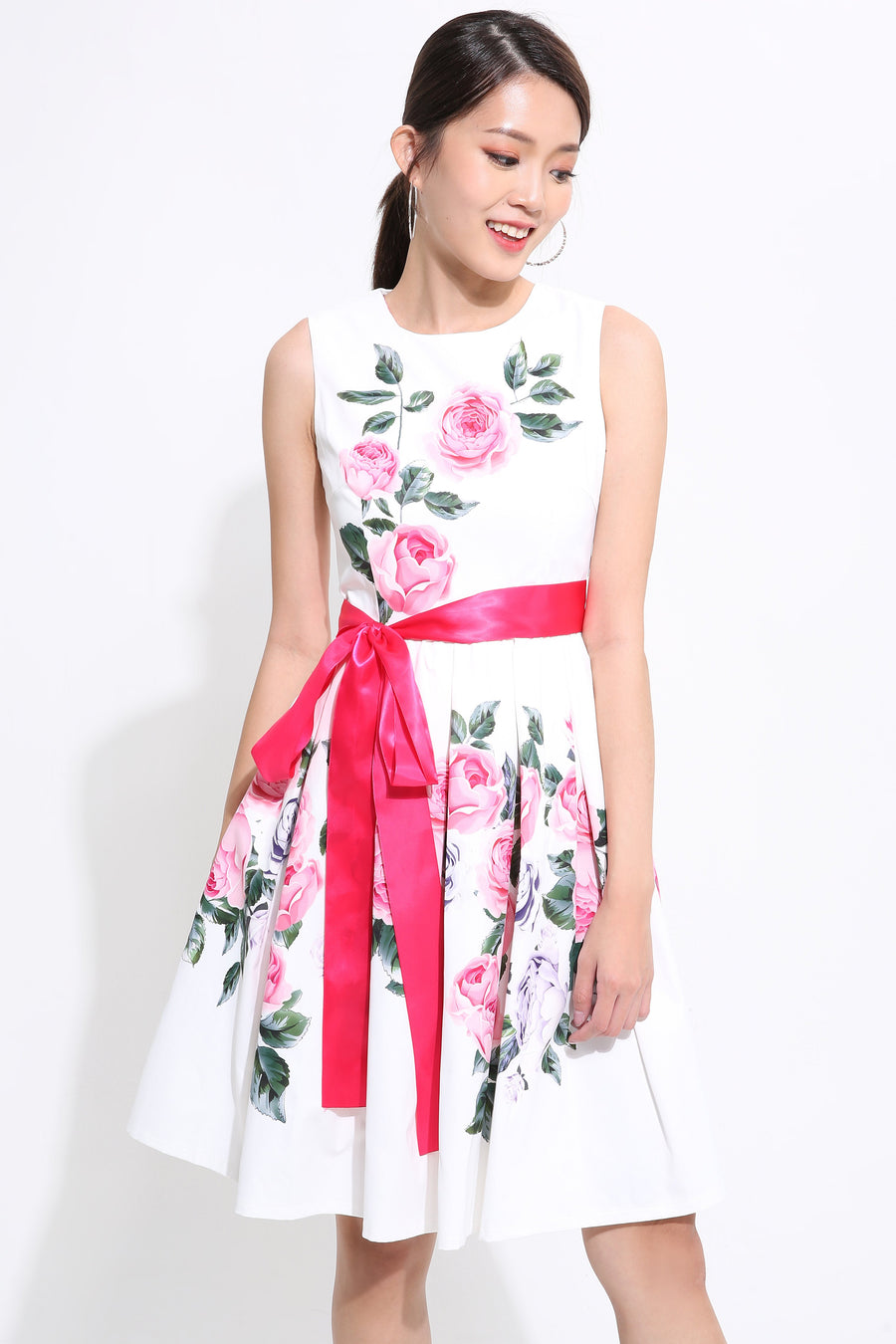 Floral with Ribbon Skater Dress 1542 - ample-couture
