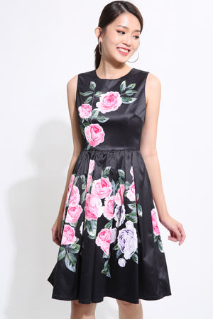 Floral With Ribbon Skater Dress 1542 Black / S Dresses