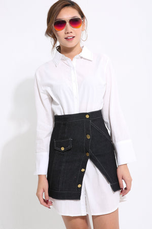Collar Top with Jeans Skirt Set 1587 - Ample Couture