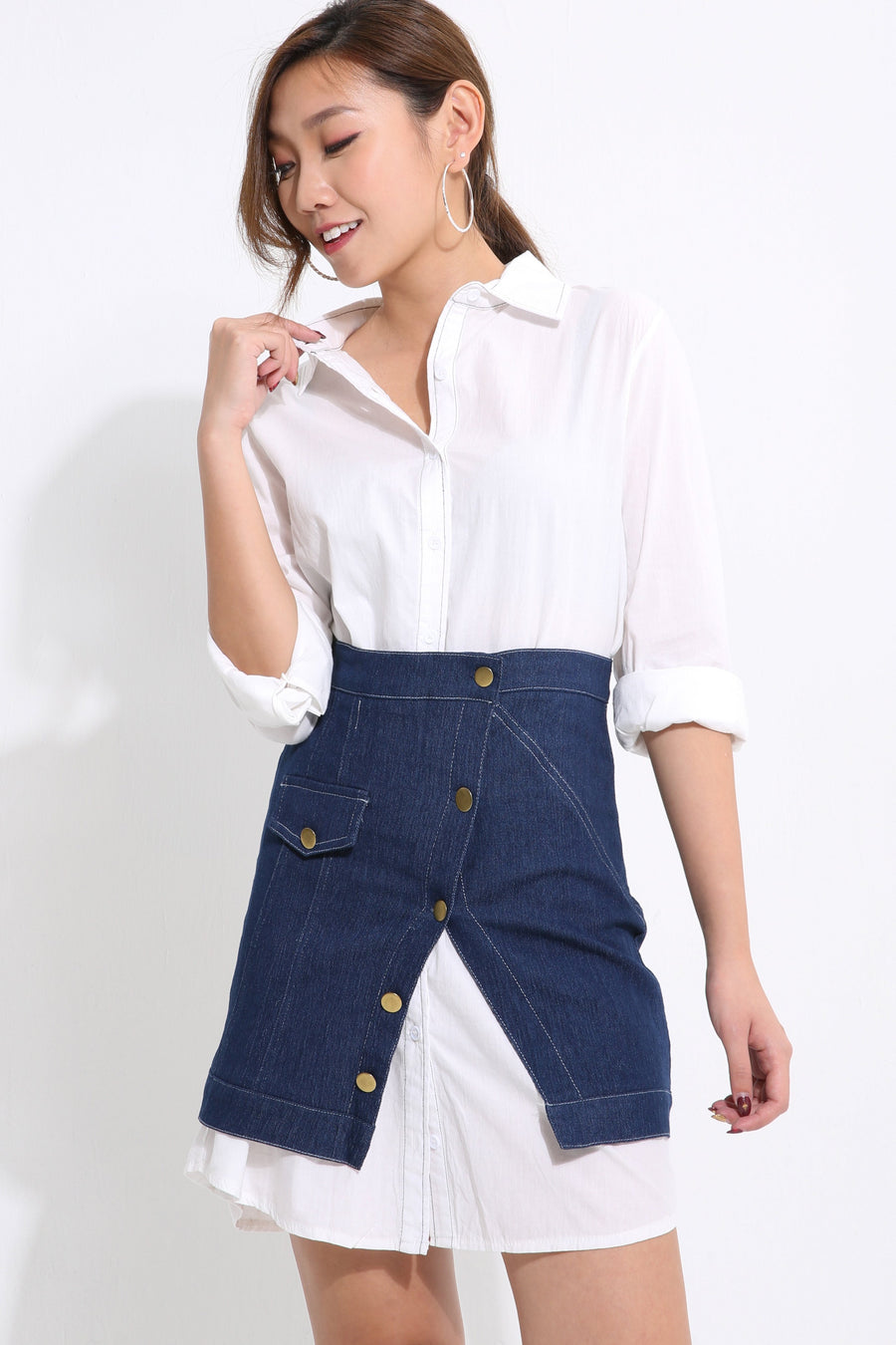 Collar Top with Jeans Skirt Set 1587 - ample-couture