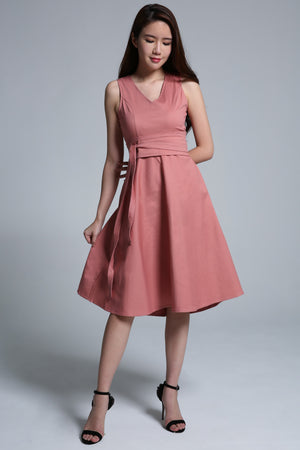 V-Neck Flare Dress 1663 - ample-couture