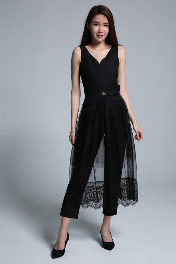 Jumpsuit with Mesh Skirt Set 1627 - ample-couture