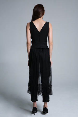 Jumpsuit with Mesh Skirt Set 1627