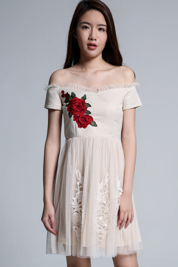 Off Shoulder Flower Dress 1703