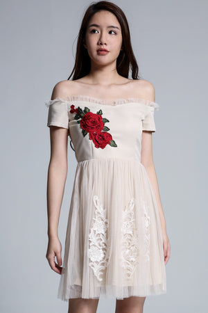 Off Shoulder Flower Dress 1703 - Ample Couture