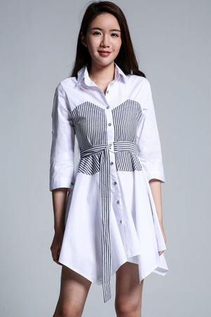 Stripe Print Shirt Dress 2112
