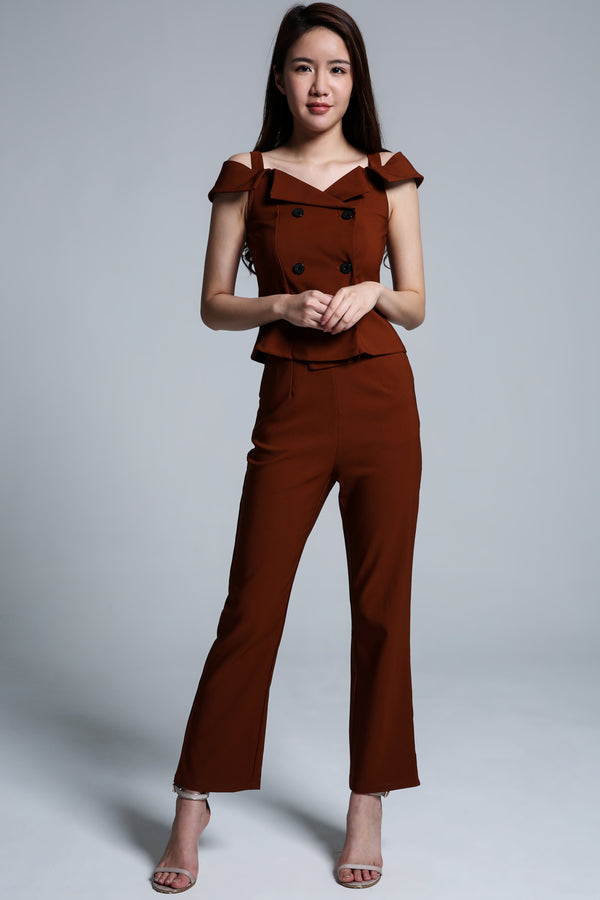 Open Shoulder Top with Long Pant Set 1716 - ample-couture