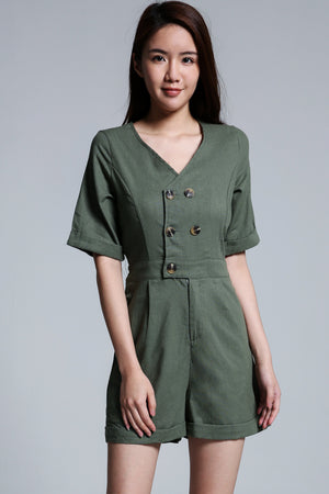 Button Playsuit 1726 - Ample Couture