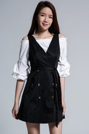 Off Shoulder Top with Button Dress Set 1730