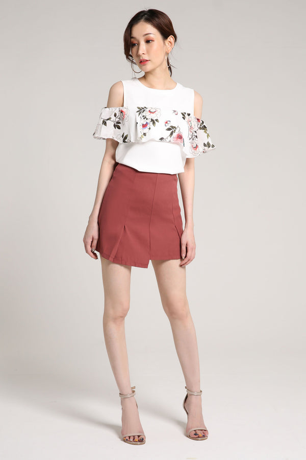 Open Shoulder Flower Top 2021 - ample-couture