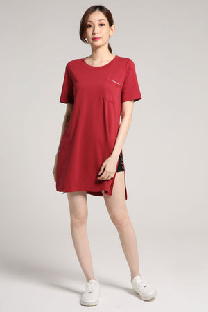 Plain Long Cotton Top 2023 Red / S Tops