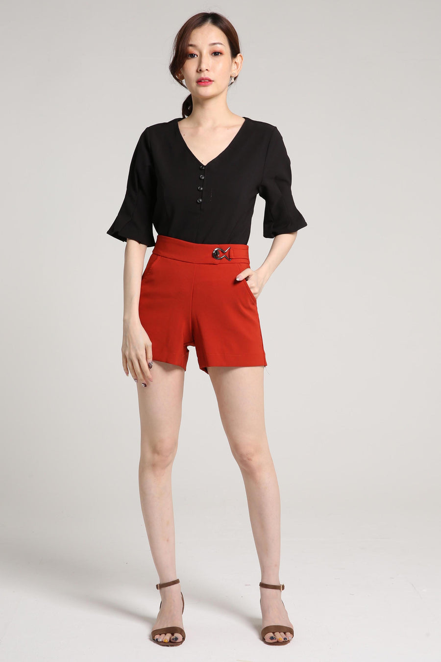 V-Neck Short Sleeve Blouse 2024 - ample-couture