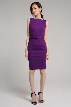 Belted Straight Cut Pencil Dress 2052