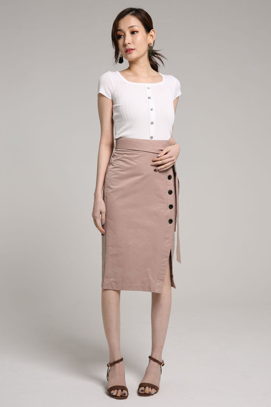 A Line Midi Skirt with Button Detail 2099