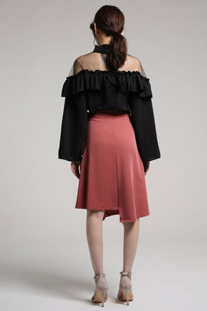 High Neck Ruffled Top 2103