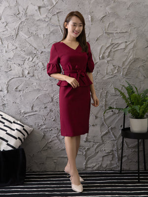 V Neck Dress With Tie Up Belt 11266