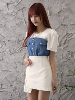 Front Button Denim Top 11360