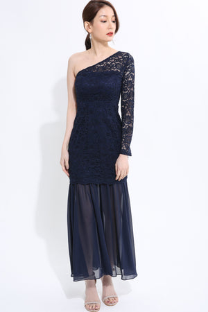 Lace Side Shoulder Long Dress - ample-couture