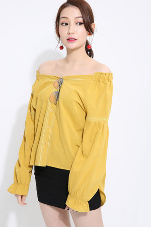 Off Shoulder Top 1430 Yellow Tops