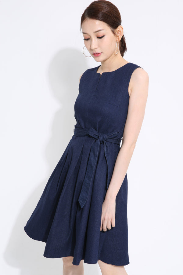 Denim Flare Dress 1414 Dark Blue / S Dresses