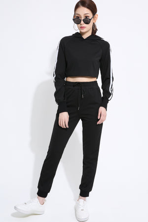 Crop Hoodie with Pant Set 1419 - ample-couture