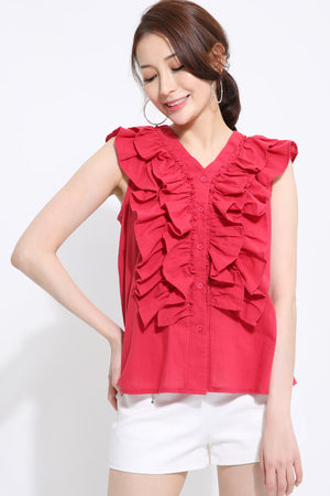 Sleeveless Ruffled Top 1428 - ample-couture