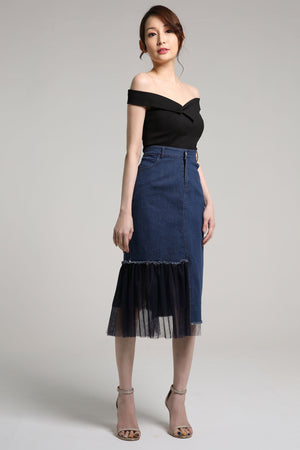 Denim Skirt with Flare Lace Detail 2109 - ample-couture