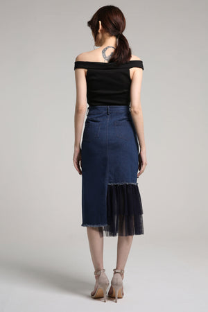 Denim Skirt with Flare Lace Detail 2109