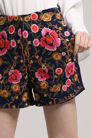 Embroidery Floral Shorts 2117 Bottoms