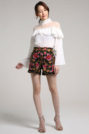 Embroidery Floral Shorts 2117 Black / 27 Bottoms