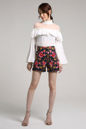 Embroidery Floral Shorts 2117 Blue / 27 Bottoms