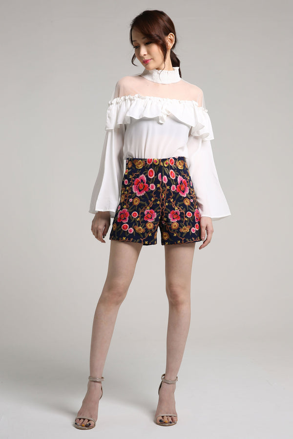 Embroidery Floral Shorts 2117 - ample-couture