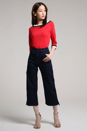 Denim Pants with Stripe Detail 2106