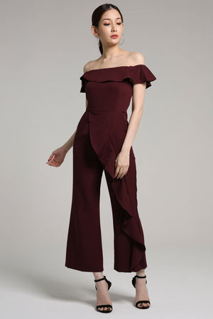 Off Shoulder Ruffled Jumpsuit 2172 - ample-couture