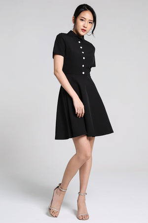 Button Flare Dress 2188 - ample-couture
