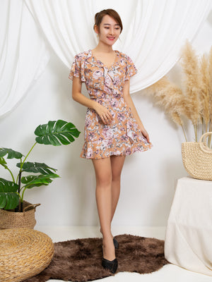V Neck Flower Playsuit 11413