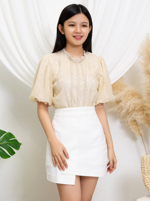 Puff Sleeve Lace Top 11396
