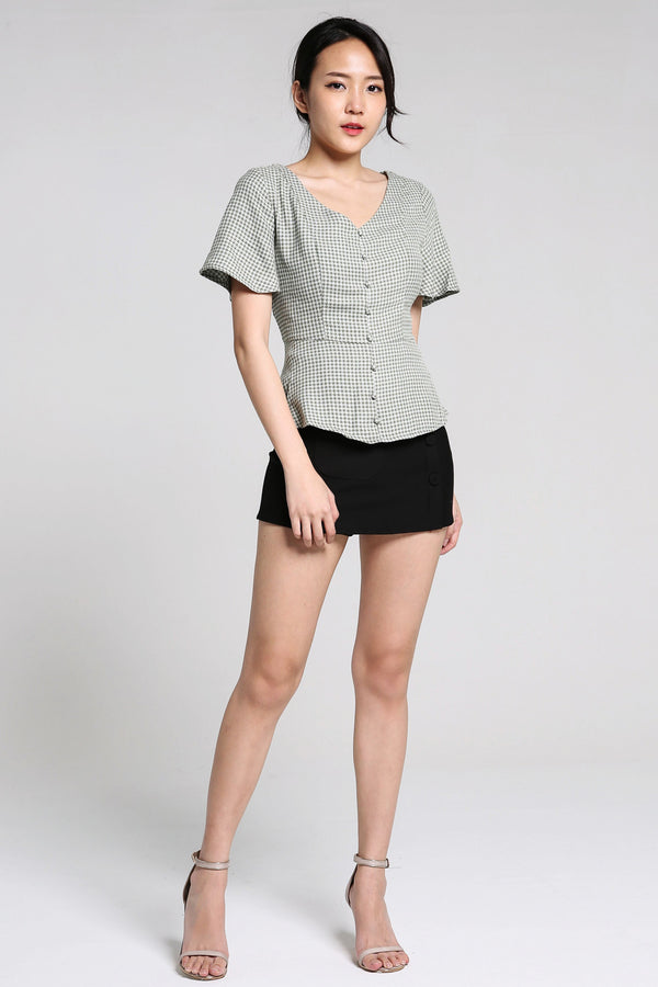 V-Neck Checker Blouse 2211 - ample-couture