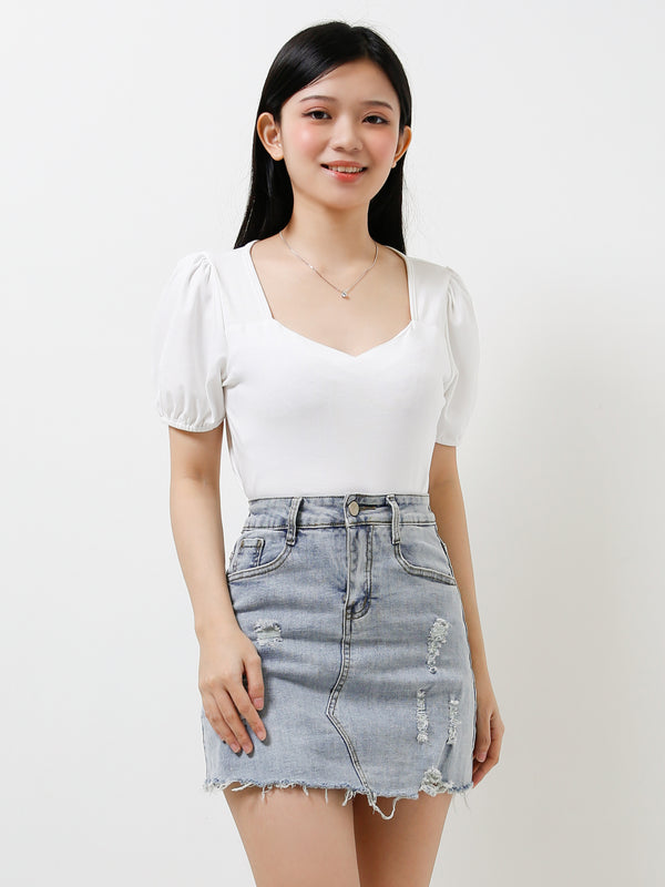 Ripped Denim Skirt 11996